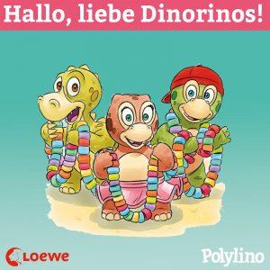 Die Dinorinos lachen in die Kamera. Überschrift: Hallo, liebe Dinorinos!